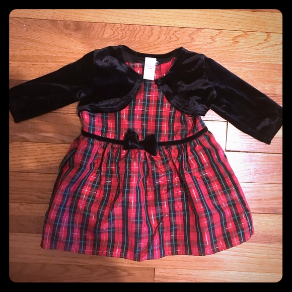 George Other - 3-6 month Christmas plaid dress and velvet sweater